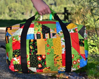 Crazy Summer Dream ON SALE quilted duffle bag, an actual crazy quilt, shaped into a duffle bag! -30 USD On Sale special discount