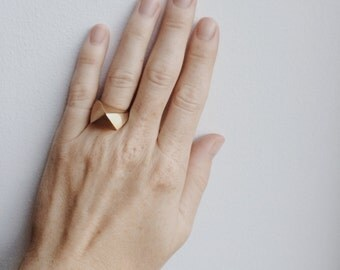 Large Faceted Brass Ring