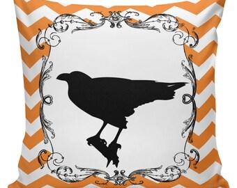 Pillow Cushion Halloween Orange Black Autumn Cotton RQ-108 RavenQuoth All Hallow's Eve Home Decor