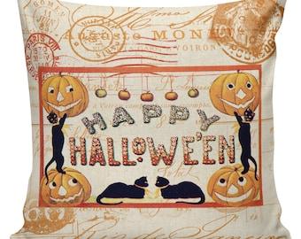 Pillow Cushion Halloween Orange Vintage Pumpkin Jack O Lantern Cotton HA-141 RavenQuoth All Hallow's Eve Home Decor
