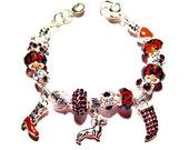 DACHSHUND or CHIHUAHUA Silver-Crystal  Bracelet precious 3d Dachshund Charm or 3d Chihuahua Charm