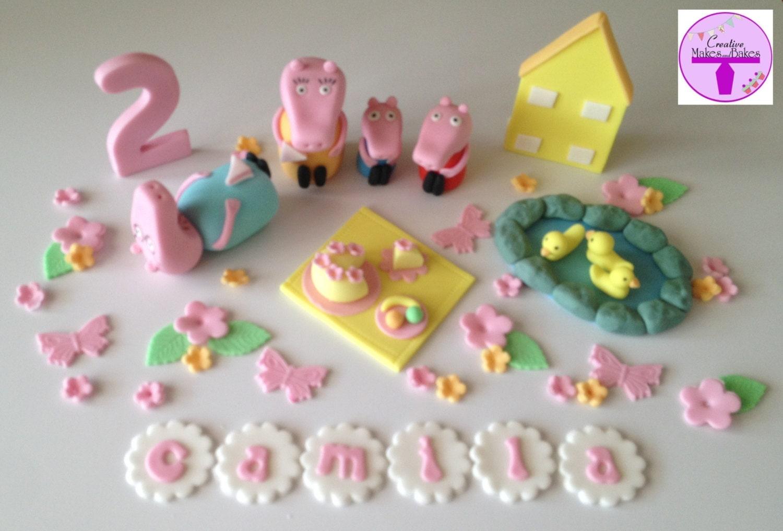 Edible Cake Images Peppa Pig : Peppa pig and George Family Edible Cake Topper Sugar Fondant