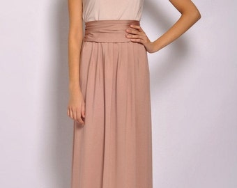 Maxi Dress Sleeveless Two Colors  Ivory - Cappuccino