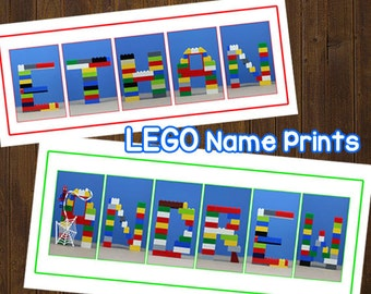 LEGO Letter Alphabet Name Art - Kids Bedroom Art - 10x20