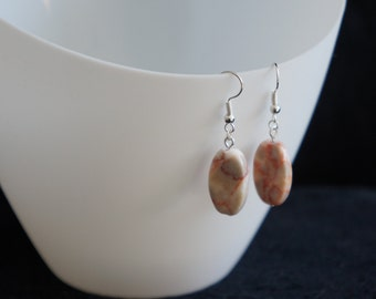 White & Red Brick Gemstone Earrings