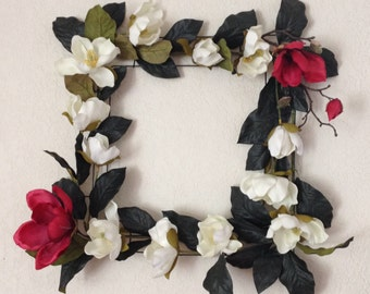 Flower wreath/mobile, home decor, red and white magnolia