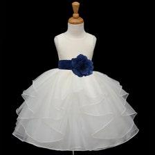 Girls Designer Clothes Size 12 Ivory Flower Girl dress tie