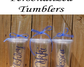 Personalized Bridesmaid Tumblers Glass Set of 9 Personalized Tumbler, Bridesmaid Gift, Bachelorette Party, Bridesmaid Glass