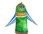 Original Owl Art - No. 23 - Watercolor and Pencil Illustration Circus owl in bright colors green blues - affordable art - OOAK