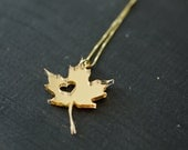 Canada Gold Necklace - Mirrored Acrylic Canada Maple Leaf Maple Leaves Charm Canada Pendant State Necklace Country Charm Country Necklace