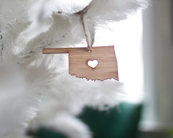 i heart Oklahoma Ornament - Bamboo - Oklahoma State Outline Ornament Wooden State Cutout Tree Ornament