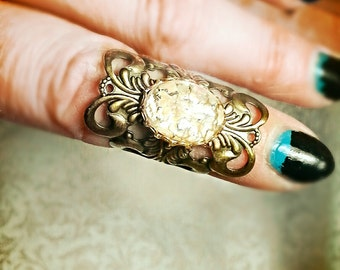 Dragon scale  Midi Knuckle Ring with Viserion cream and gold Glass Stone Antique Gold Tone metal