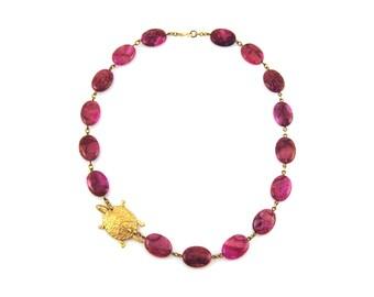 Fuchsia Statement Necklace, Turtle Necklace, Fuchsia Necklace, Pink Necklace, Turtle Jewelry, Fuchsia Jewelry, Pink Statement Necklace