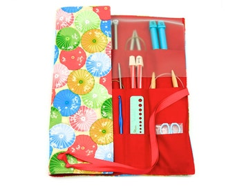 Knitting Needle Case - Parasols - IN STOCK Large Organizer 30 red pockets for circular, straight, dpn