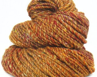 Handspun handdyed yarn Merino wool camel silk and sparkle