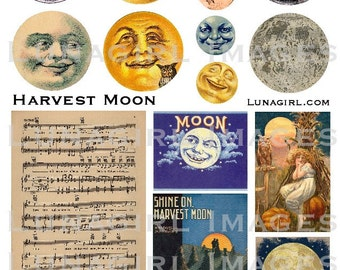 HARVEST MOON faces digital collage sheet vintage images ephemera sheet music song autumn fall Victorian antique printables cards DOWNLOAD