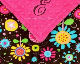 Personalized Baby Girl Blanket , Baby Blanket, Brown Flower Fun Minky Blanket