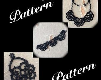 PDF Tatting Pattern - Scallops - Necklace - Bracelet - Earrings