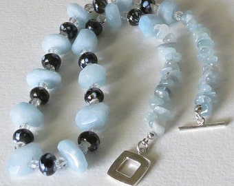 Chunky Aquamarine Necklace with Quartz and  Lampwork Beads, Smokeylady54