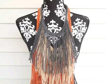 Grey Beige Orange Hand Crocheted Bohemian Statement Necklace Crochet Fringe Necklace