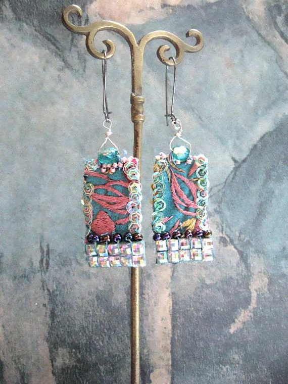 Island Shimmer Earrings, Beaded, Vintage Embroidery, Blue, Pink, Purple, Irridescent, Boho, Elegant