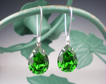 Fern Green Rhinestone Earrings Wedding Jewelry Bridesmaid Earrings Swarovski Emerald Green