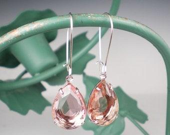Pale Peach Rhinestone Drop Earrings Peach Wedding Bridesmaid Earrings Jewelry
