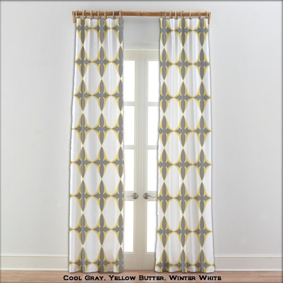 Window Curtains Gray And Yellow: Items Similar To Moroccan Yellow Gray White Curtains