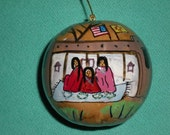 """Hand-Painted Gourd Christmas Ornament/decoration by Artist Sandy Short """"Palace of the Governors, Santa Fe, New Mexico""""."""