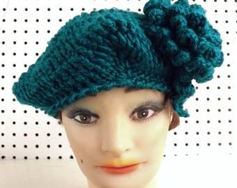 Crochet Beret Hat, Pagoda Blue Crochet Hat Womens Hat Trendy, Womens Crochet Hat, Crochet Flower Pagoda Blue Hat, LYNETTE Steampunk Hat