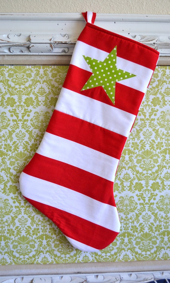 Modern Christmas Stocking - Red White Stripe with Green polka dot Star