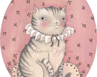 "MarmeeCraft cat art print, ""Little Miss Kitty"""