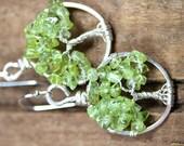 Miniature Peridot Tree of Life Earrings Sterling Silver Wire Wrapped Jewelry Lightweight Dangle Spring Green Gemstone Everyday Earrings