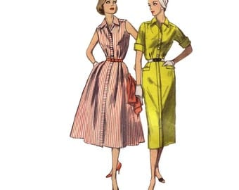 60s Wiggle Dress pattern Full Skirt Dress pattern vintage 35-29-39 madmen Hourglass dress Fit and Flare dress simplicity 2043