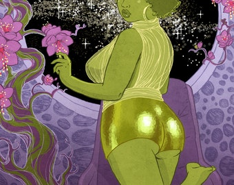 Curvy Pinup - 8x10 art print / fat, bbw, body positive, sexy sci-fi green afro, booty shorts in space