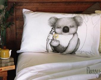 Giant Koala pillowcase, facing left. Australian animal. Cotton sham. White printed pillowslip. Australian gift with original art by flossy-p