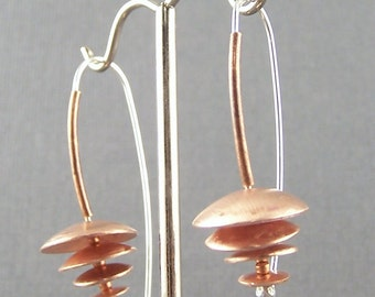 Ships within 24 hours   Copper and Sterling Silver  Rain Chain Earrings