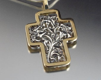 Floral Cross Art Nouveau style in 14K gold and silver