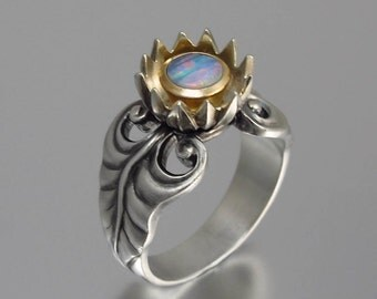 BLUE LOTUS 14K gold and silver ring with Blue Opal