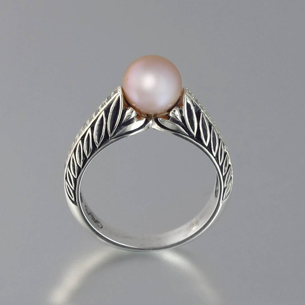 edelweiss 14k gold engagement ring with pink pearl