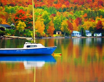 Fall on Lake Willoughby - colorful landscape - autumn trees - Vermont - fall foliage - New England - Sailboat