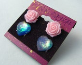 Lavender Opal Heart Post Earring Set - Iridescent Purple Sparkle Resin Heart & Pink Rose Studs - Magical Unicorn Fashion
