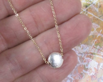 Tiny Sterling Silver Moon Necklace Coin Gold Chain Bead DJStrang Mixed Metals Minimalist