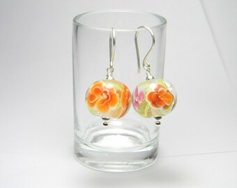 Earrings - Lampwork Glass and Sterling Silver