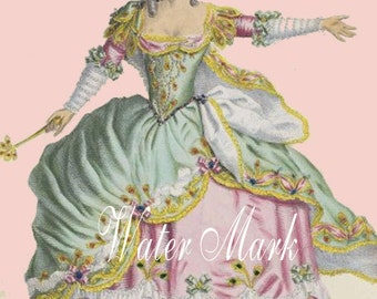Marie Antoinette.Pink Roses  Gorgeous.Digital Download,cards, tags,postcards and more