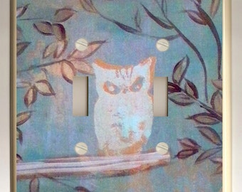 Double Light Switch Plate - White Owl in Tree on Blue Background