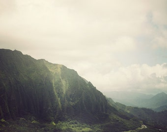"Pali Lookout in Hawaii, Mountain Art Print, Landscape Photography, Lush Nature, Tropical, Green, Autumn - ""Looking Windward"""