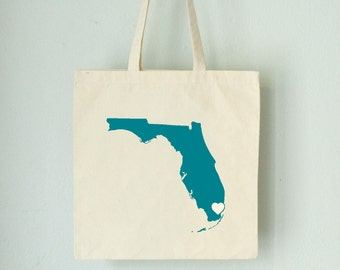 Sale Florida LOVE Tote MIAMI turquoise state silhouette heart on natural bag
