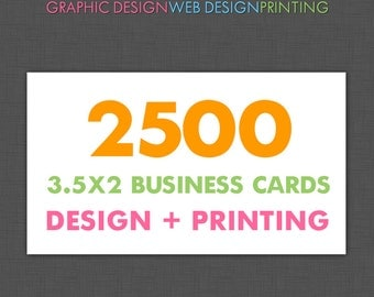 Custom Business Cards, Personalized, Business Card Design and Printing, 2500 Business Cards, Printed, Paper Goods, Stationery