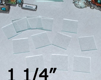 30 Pack 1-1/4  Inch Squares - Clear Memory Pendant Glass for Collage Altered Art Soldered Jewelry (( 1.25 inch SQUARES ))